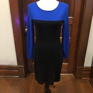 Classy color block black and royal blue dress